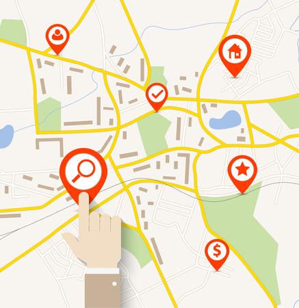 Hand tik op pin aanwijzer op navigatiekaart Stock Illustratie