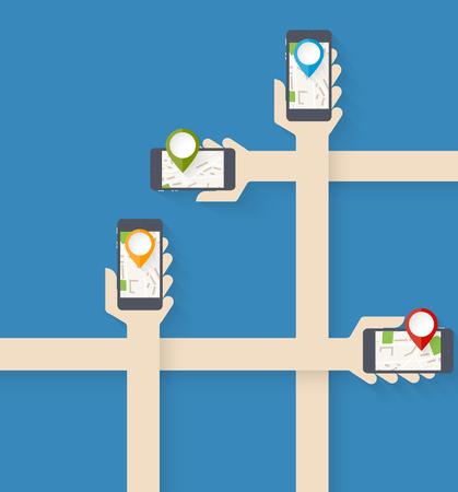 Few hand hold smartphones with navigation app Vector