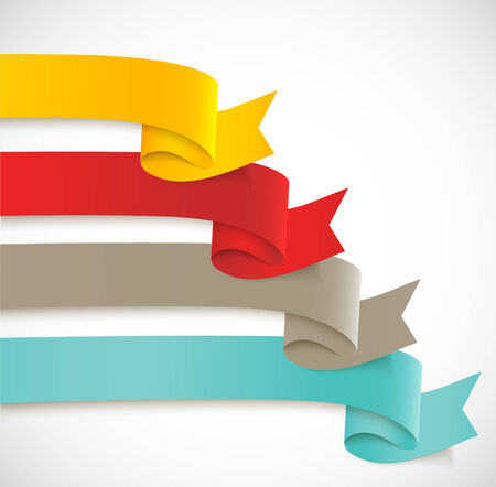 Set of ribbons. Collection of bright long banners Vector
