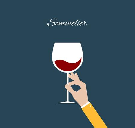 glass wine: Sommelier  Flat illustration
