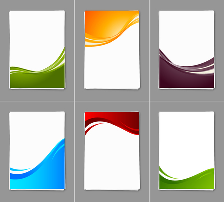 Set of wavy brochures Vettoriali