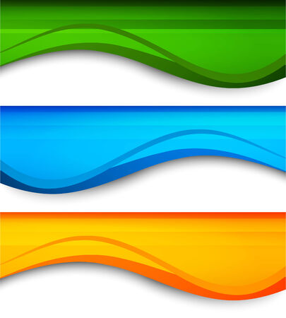 waves abstract: Set of wavy banners Illustration
