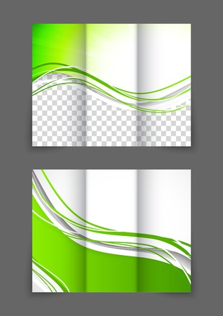 緑の波の 3 つ折りパンフレット