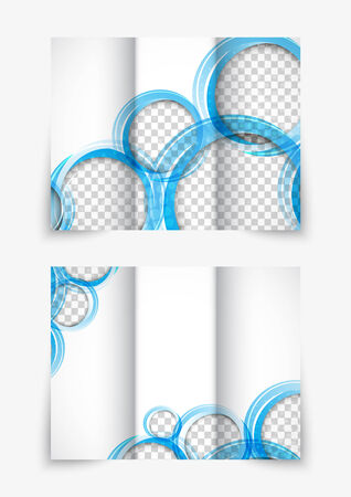 tri color: Tri-fold design brochure with blue circles