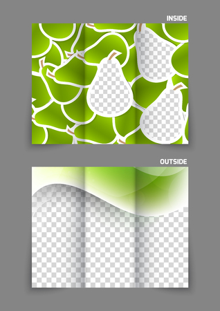 tri color: Pears texture tri fold brochure Illustration