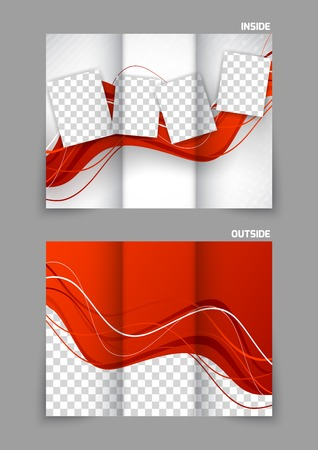tri color: Red wavy tri fold brochure
