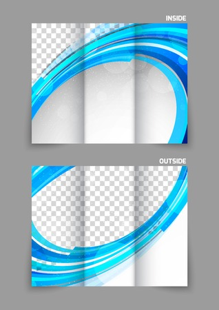 tri color: Blue tri fold brochure Illustration