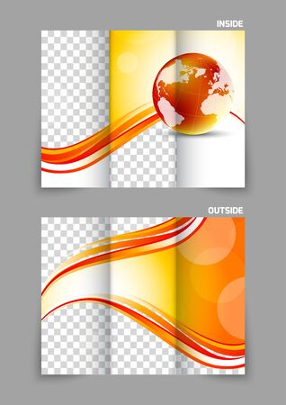 tri color: Globe wave tech tri-fold brochure Illustration