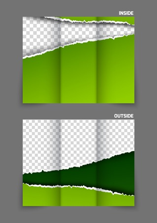 tri: Torn paper tri fold brochure