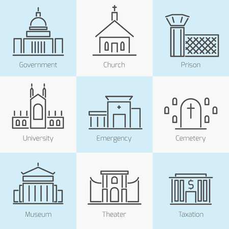 capitol: Set of government buildings icons