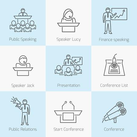 hablar en publico: Conjunto de iconos para hablar en público Vectores