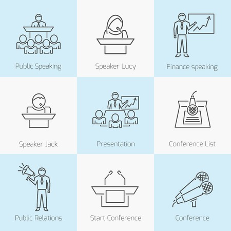 Set of public speaking icons Vector