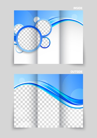 Blue tri-fold brochure Vector