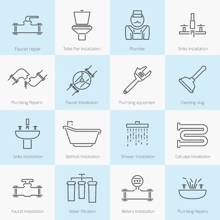 pipe wrench: Set of icons