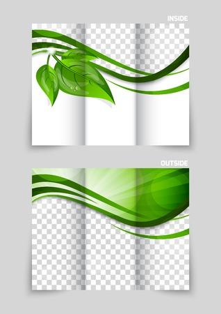 三つ折りパンフレットのテンプレート デザイン  イラスト・ベクター素材