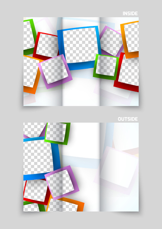 tri color: Tri-fold brochure template design Illustration