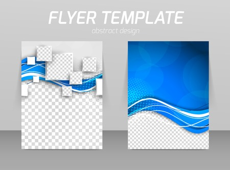 Abstract flyer template design with wave in blue color and squares Vettoriali