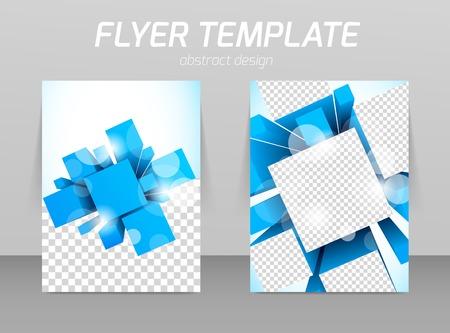 3D 사각형 추상 전단지 템플릿 디자인