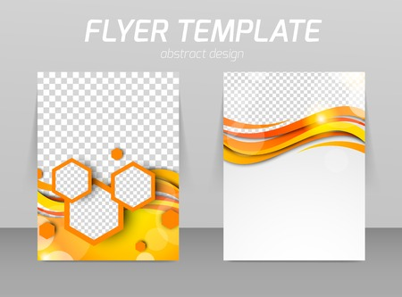 presentation folder: Abstract flyer template design with waves and hexagons