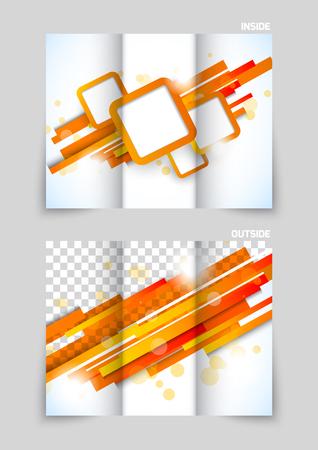 presentation folder: Tri-fold brochure template design with stripes and squares