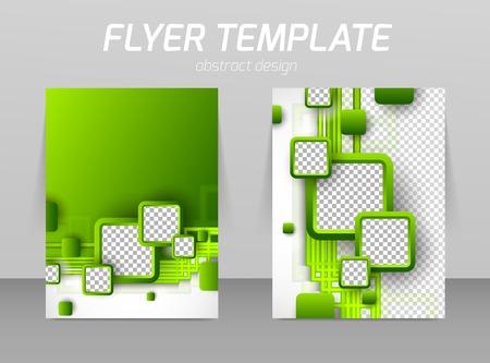 녹색 사각형으로 추상 전단지 템플릿 디자인
