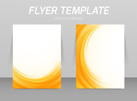 추상 전단지 템플릿 부드러운 오렌지 웨이브 디자인