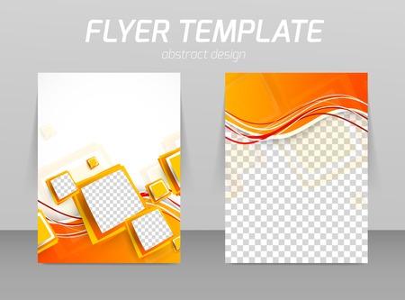 오렌지 정사각형으로 추상 전단지 템플릿 디자인 일러스트