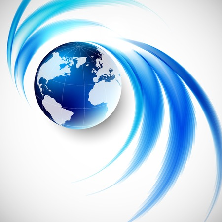 blue world map: Abstract soft blue wave background