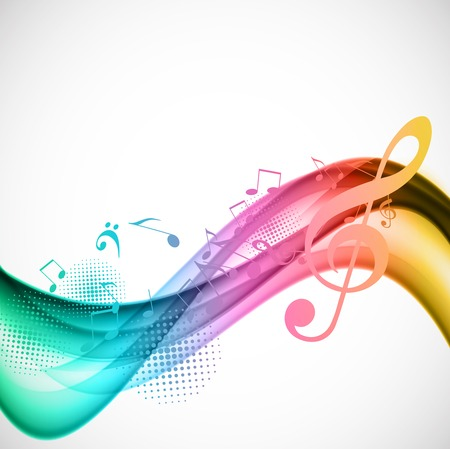 treble clef: Colorful music background Illustration
