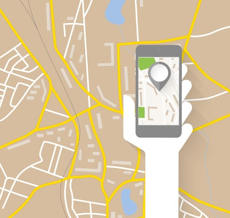 smartphone hand: Navigation map