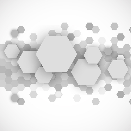 Abstract grey hexagons background