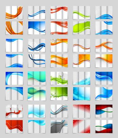 folleto: Conjunto de diseño de tríptico Vectores