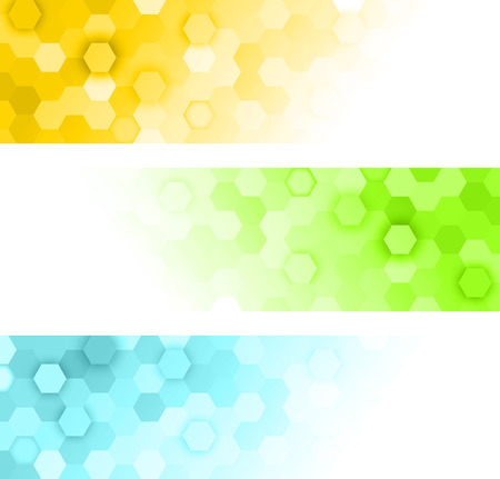 molecule abstract: hexagons banners Illustration