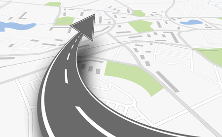 carretera: concepto de navegaci�n con mapa y hasta la carretera