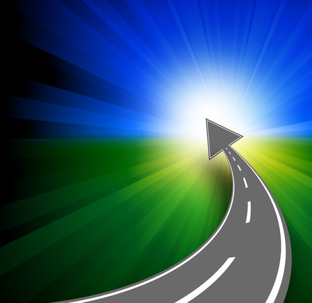 horizont: Success concept with road and arrow to horizont