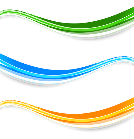 Set of wave banners in blue, green and orange color