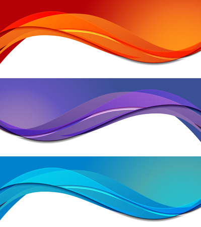 red wave: Set of banners in abstract material design style Illustration