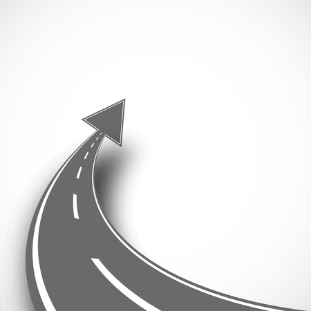Road with arrow on isolated background with shadow