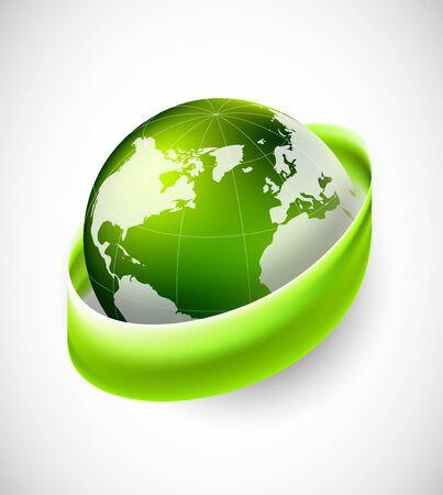 recycling symbols: Green globe with green ribbon ecology