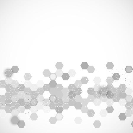 육각형 디자인 일러스트와 함께 과학 배경