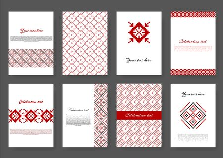 Set of ethnic design in pixel style with in red color