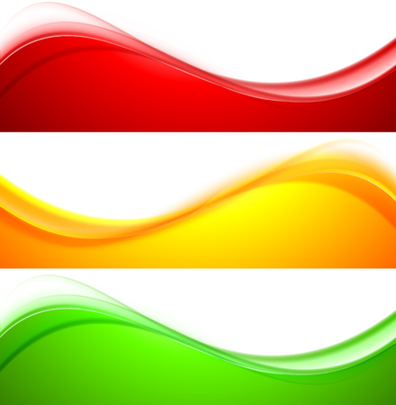 red wave: Set of wave banners abstract vector illustration