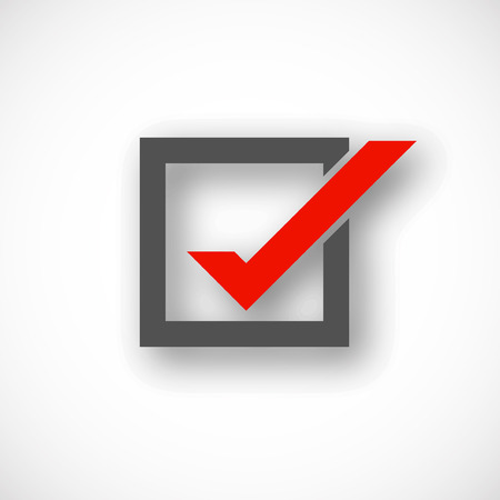 check symbol: Check mark symbol in gray and red color