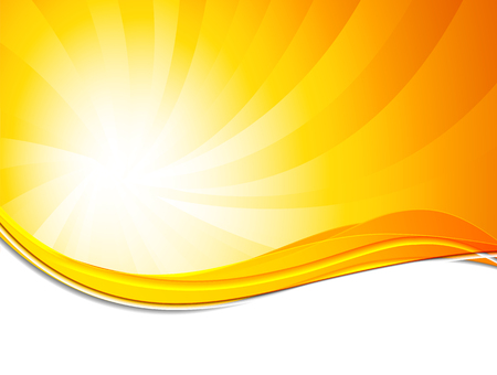 Abstract background in orange color with sun shine effect