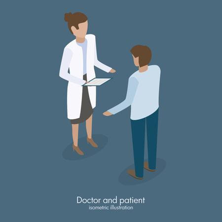 doctora hablando con la ilustración vectorial paciente masculino isométrica diseño médico Ilustración de vector