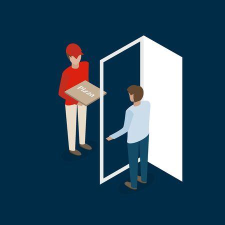 door to door: man in red pizza delivery isometric flat vector illustration