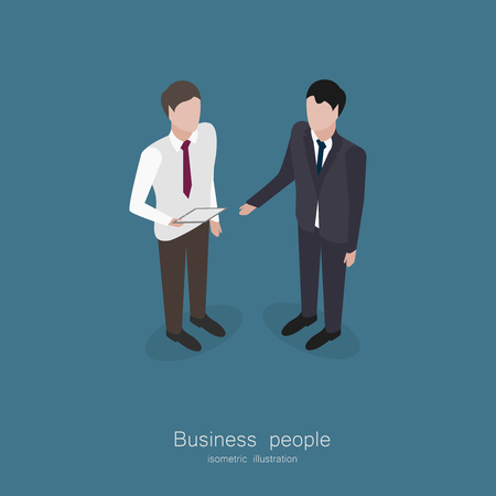 discussion: Two business man talking isometric style vector illustration