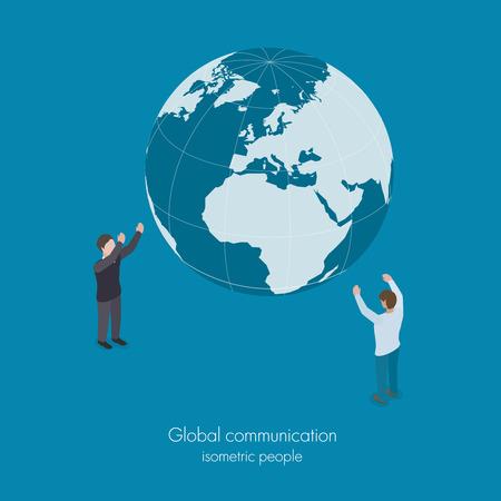 global communication: Global business world social communication concept vector isometric illustration