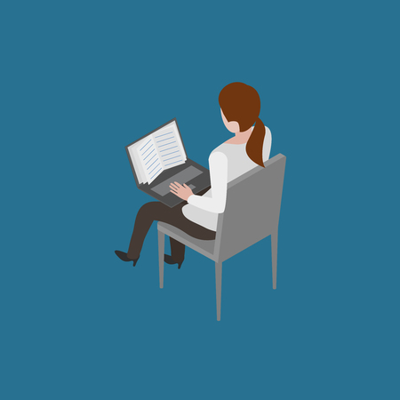 online book: Girl sitting on chair and reading online book isometric vector illustration