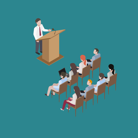 Business conference man speach education training isometric illustration Çizim